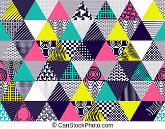 Seamless background with textured multicolored triangles....