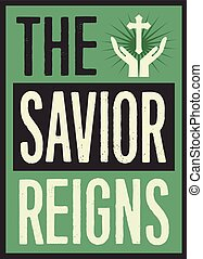 The Savior Reigns Retro Christian Christmas Card Poster...
