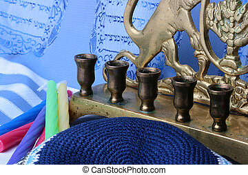 Menorah and candles - Jewish menorah and colorful candles...
