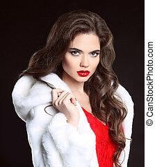 Beautiful Fashion Model Girl in white Mink Fur Coat