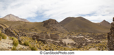 Ruins of the ancient village of San Antonio de Lipez in Bolivia