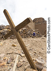 Wooden old christian religious cross at the Lipez ruins in Bolivia