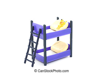 Doll bunk bed with stairs and pillows on white background -...