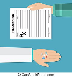 hands holds a prescription rx form and pills. taking pills,...