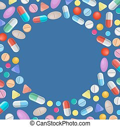 Different colorful medical pills capsules and tablets...