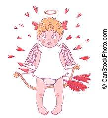 intorno, DIVERTENTE, lei, valentine, frecce, arco, giorno,...