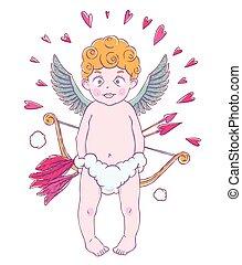 intorno, DIVERTENTE, suo, valentine, cupid-boy, frecce,...