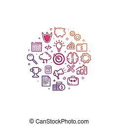 Vector illustration of circular colorful icon in flat line...