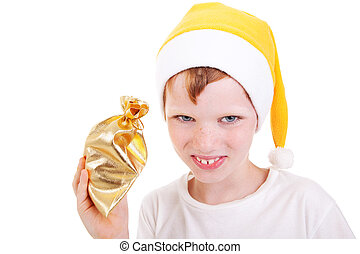 Cute christmas boy with a gift isolated on white background, studio shot.