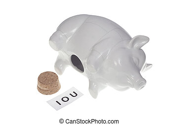 IOU - Empty piggy bank with IOU sign inside - dept