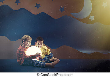 Boys surrounded by night background - Boys wearing pyjamas...