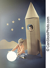 Night with boy in rocket - Night sky with a boy in paper...