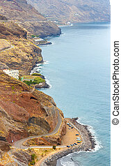 Gaviotas Beach and road to San Andres in Tenerife, Canary...