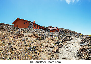 View of a hostel on the slope of El Teide Volcano, Tenerife,...