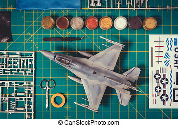 top view of a plastic model - view from the top of paint,...