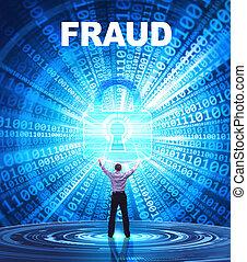 frode,  security:, affari, concetto, giovane,  Cyber, rete, fornisce,  internet, uomo, tecnologia