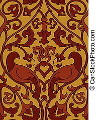 Pattern with flowers and birds. Seamless filigree ornament....