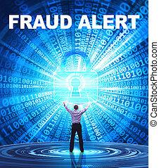 frode,  security:, affari, concetto, giovane,  Cyber, allarme, rete, fornisce,  internet, uomo, tecnologia