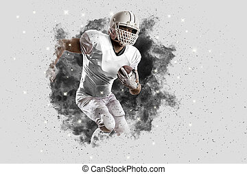 Football Player with a White uniform coming out of a blast...