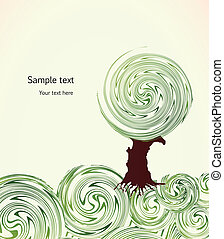 Hand Drawn ornate swirl grass and tree. Vector - Hand Drawn...