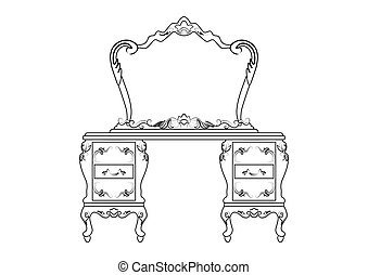 Dressing table and mirror set