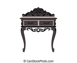 Elegant commode table with drawers. Baroque style luxury...