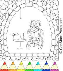 gnome in the cave reading fairy tale, eps10
