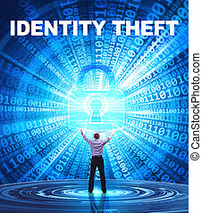 security:, affari, concetto, giovane,  Cyber, rete, fornisce,  internet, uomo, Furto, identità, tecnologia