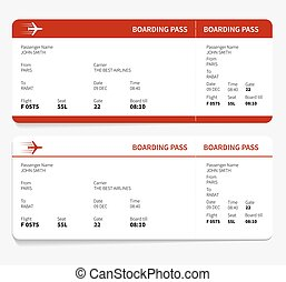 Red boarding pass - Red and white boarding pass, Vector...