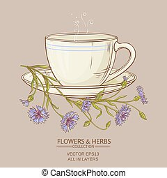 cup of corn flower tea on color background