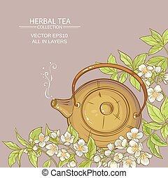 jasmine tea vector background - Illustration with teapot and...