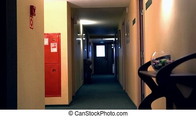 View of woman with suitcase leaves the room - Hotel. View of...