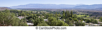 Panorama of the village of Cachi with mountains, Argentina -...