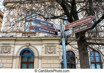 Chain bridge Budapest Hungary - Street signs for turist and...