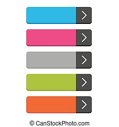 Rectangular empty buttons vector set