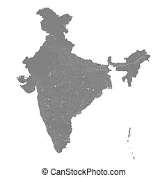 Map of India with rivers and lakes. Especially looks nice at...