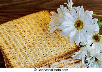 passover jewish food Pesach matzoh white gerbera - Jewish...