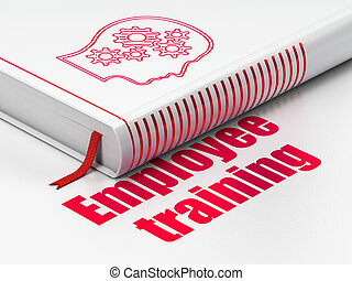 Learning concept: book Head With Gears, Employee Training on...