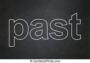 Time concept: Past on chalkboard background