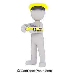 3D figure wearing yellow chauffeur hat holds toy taxi cab...