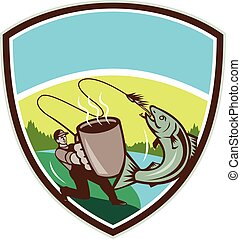 Fly Fisherman Salmon Mug Crest Retro