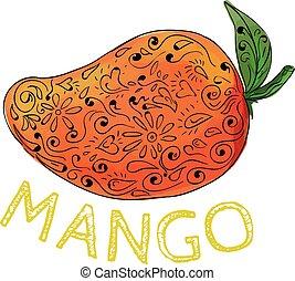 Mango Juicy Fruit Mandala - Mandala style illustration of a...