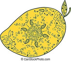 Mango Fruit Mandala - Mandala style illustration of a mango,...