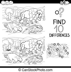 difference activity with animals - Black and White Cartoon...