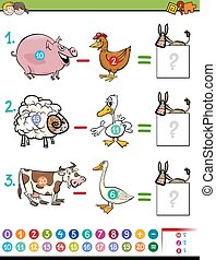 subtraction game for kids - Cartoon Illustration of...