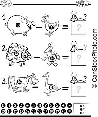 subtraction game for coloring - Black and White Cartoon...