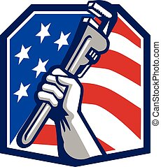 Plumber Hand Pipe Wrench USA Flag Retro - Illustration of a...