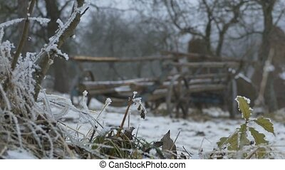 Ancient Cart Outdoor in Snow - Switching focus from the...