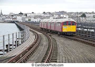 Train on Ryde Pier in the Isle of Wight, Hampshire, UK