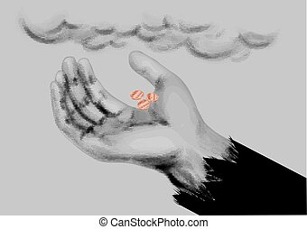 Beggar symbol. mendicants hand with coins on gray